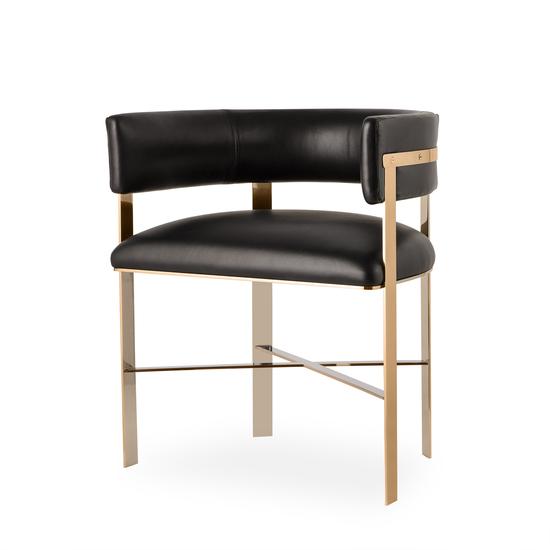 Art dining chair black leather mirrored brass  sonder living treniq 1 1526882862494