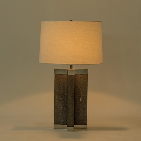 Shagreen lamp grey white shade by nellcote sonder living treniq 1 1526980244138