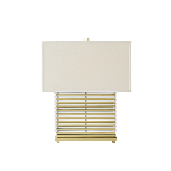 Stack table lamp brass white shade by nellcote sonder living treniq 1 1526981130998