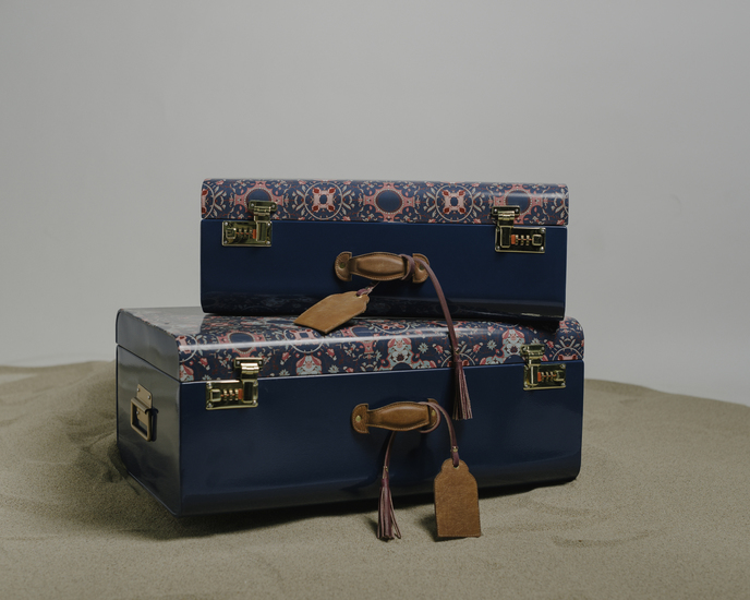 The tantraa set of 2 trunks with leather handles  living with elan treniq 1 1527163712873