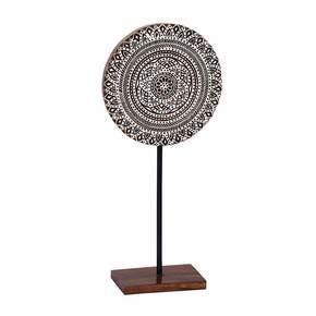 Kalamkari in White Wood Block Medallion