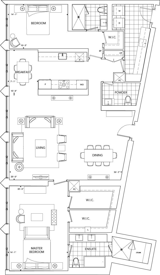 Ten York 2J+D Floorplan