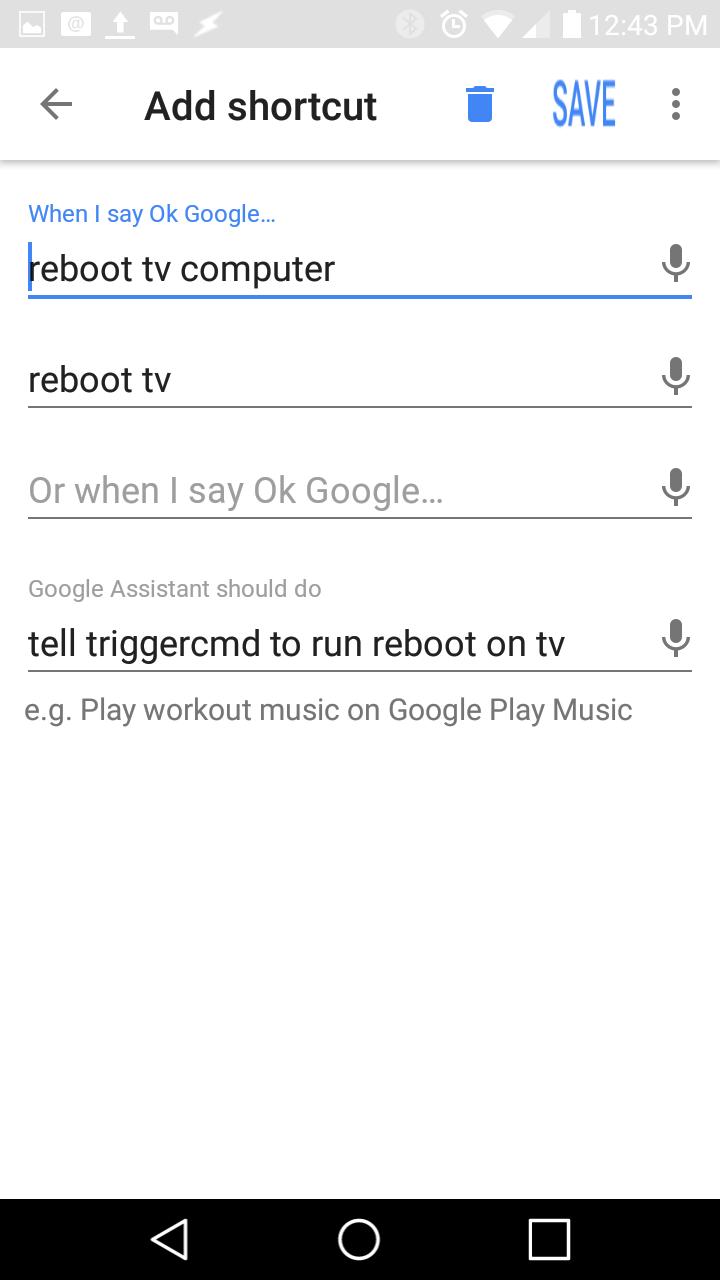 Google Action Shortcut