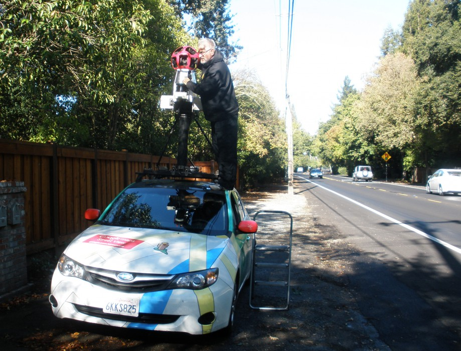 Trip photo #3/10 Google Street View car - some leaves and branches got stuck over the camera lens