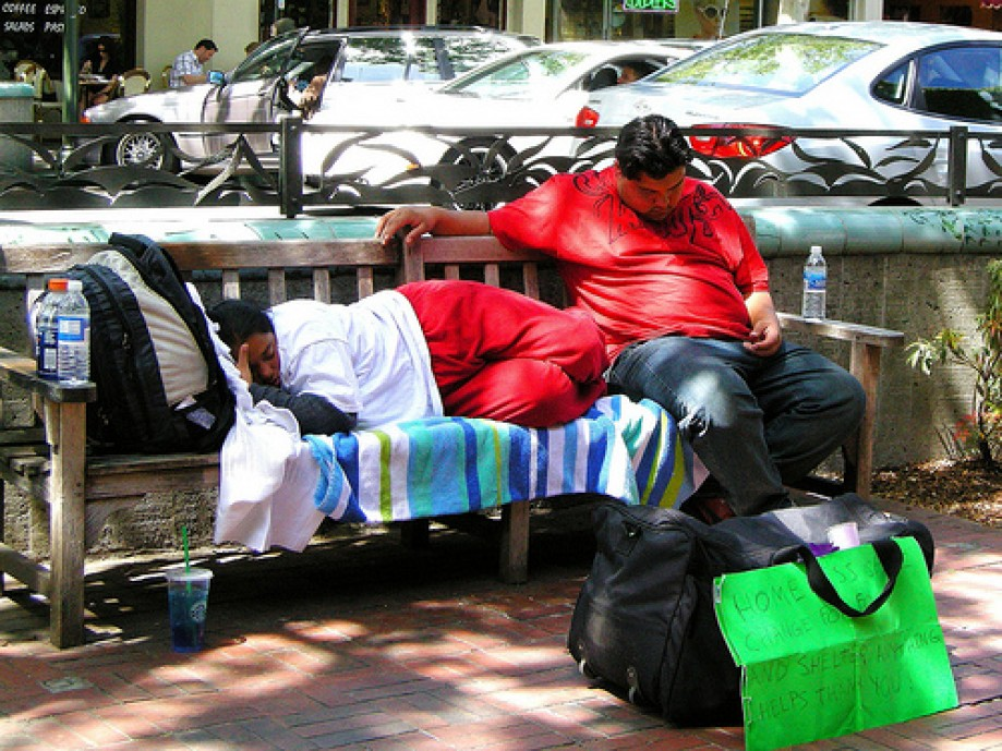 Trip photo #1/16 Homeless Sleeping on a Bench in Downtown Palo Alto