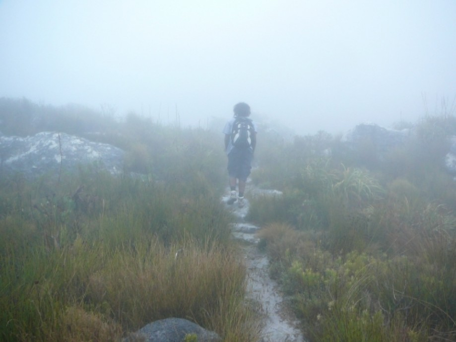 Trip photo #9/16 Amare hiking into the mist...