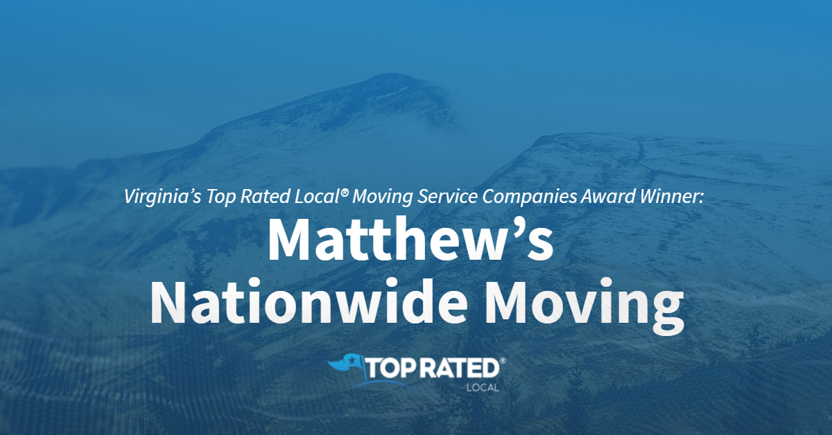 Virginia's Top Rated Local® Moving Service Companies Award Winner: Matthew's Nationwide Moving