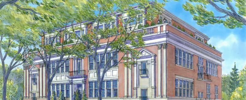 Wells Street Schoolhouse Lofts at 64 Wells Street, Aurora, Ontario. Image 2