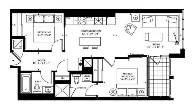 Condo Apartment at 32 Davenport Rd, Unit 1905, Toronto, Ontario. Image 4