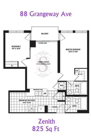 Condo Apartment at 88 Grangeway Ave, Unit 907, Toronto, Ontario. Image 5