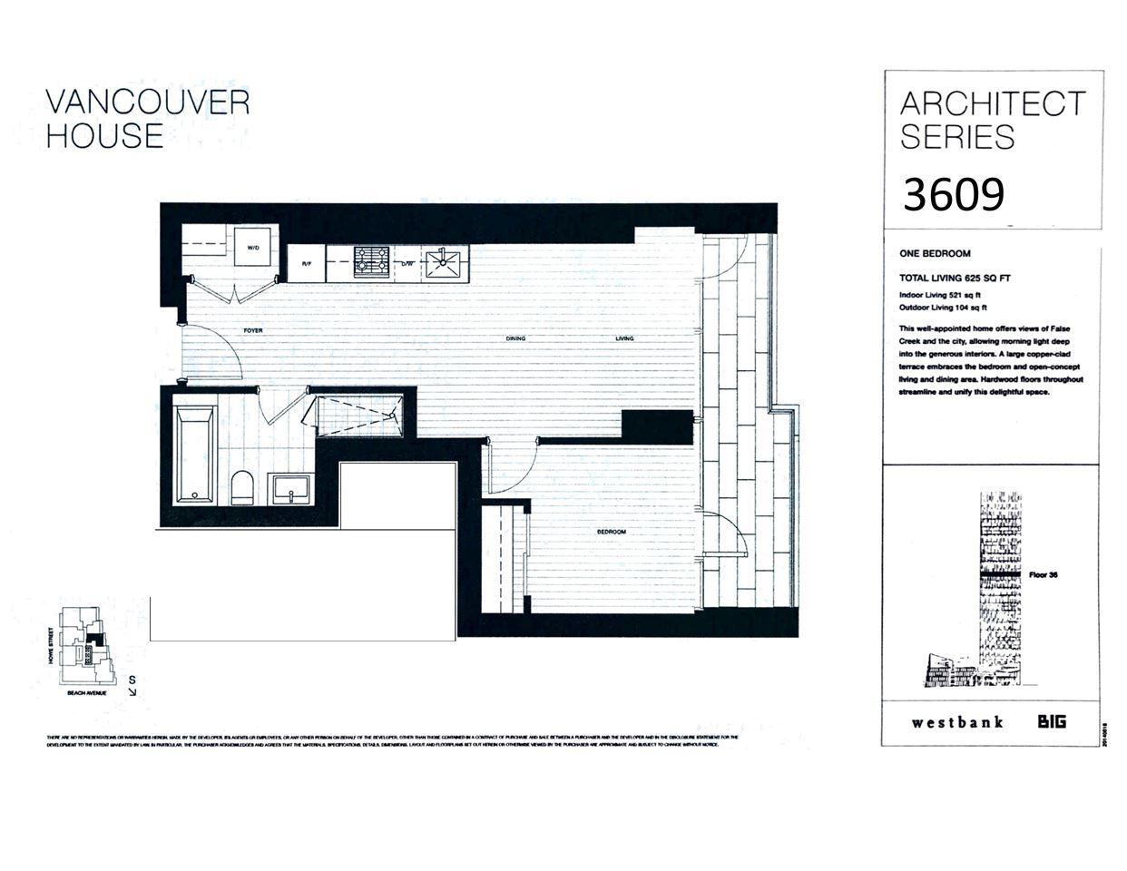 Condo Apartment at 3609 1480 HOWE STREET, Unit 3609, Vancouver West, British Columbia. Image 2
