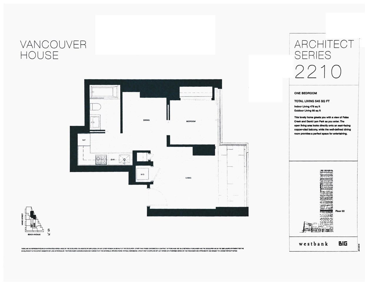 Condo Apartment at 2210 1480 HOWE STREET, Unit 2210, Vancouver West, British Columbia. Image 2