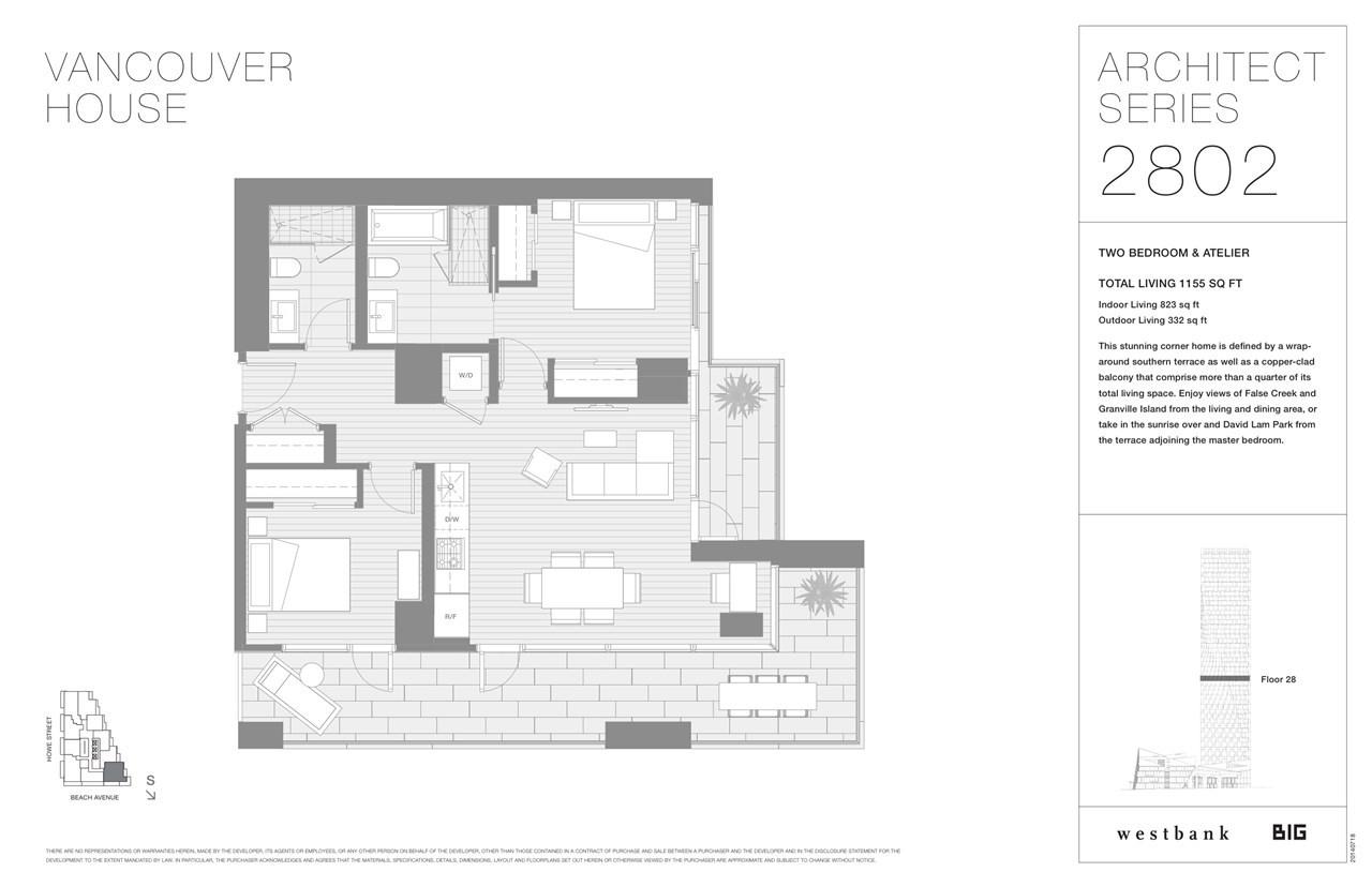 Condo Apartment at 2802 1480 HOWE STREET, Unit 2802, Vancouver West, British Columbia. Image 3
