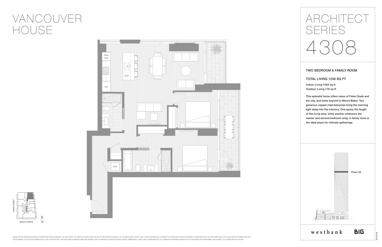 Condo Apartment at 4308 1480 HOWE STREET, Unit 4308, Vancouver West, British Columbia. Image 2