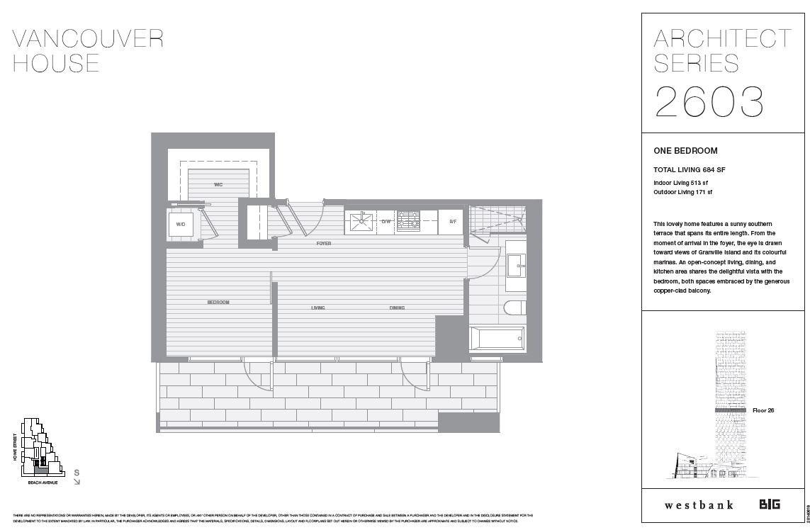 Condo Apartment at 2603 1480 HOWE STREET, Unit 2603, Vancouver West, British Columbia. Image 1