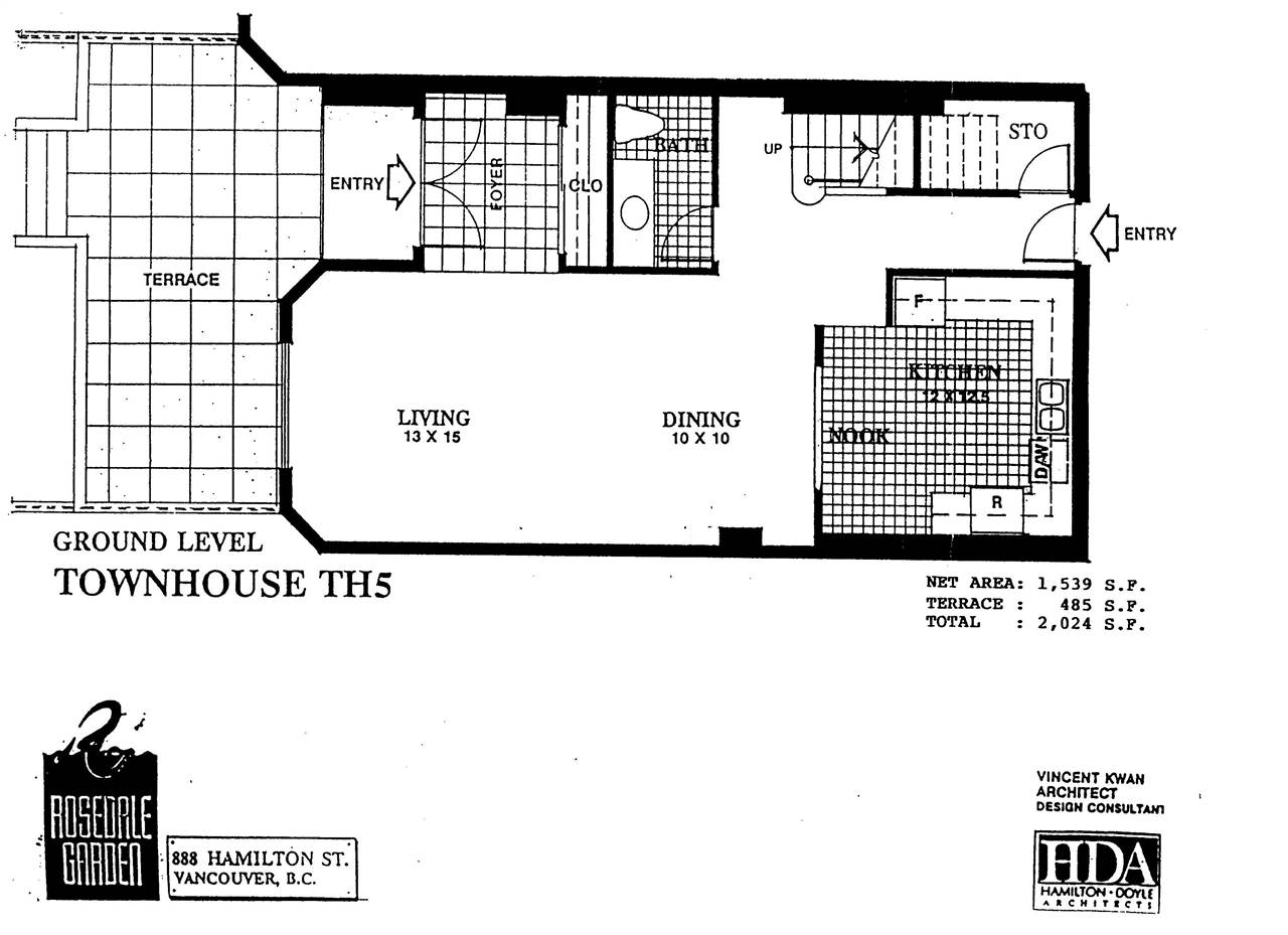 Townhouse at 105 287 SMITHE STREET, Unit 105, Vancouver West, British Columbia. Image 1