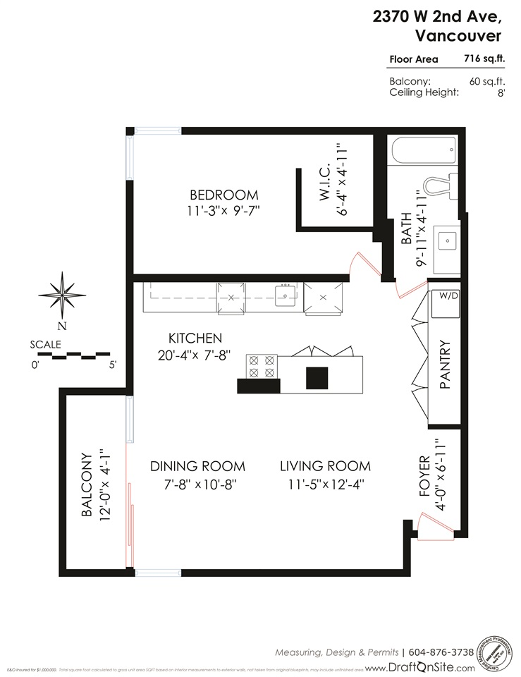 Condo Apartment at 304 2370 W 2ND AVENUE, Unit 304, Vancouver West, British Columbia. Image 5