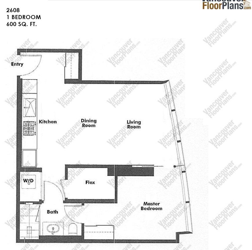 Condo Apartment at 2608 1151 W GEORGIA STREET, Unit 2608, Vancouver West, British Columbia. Image 5