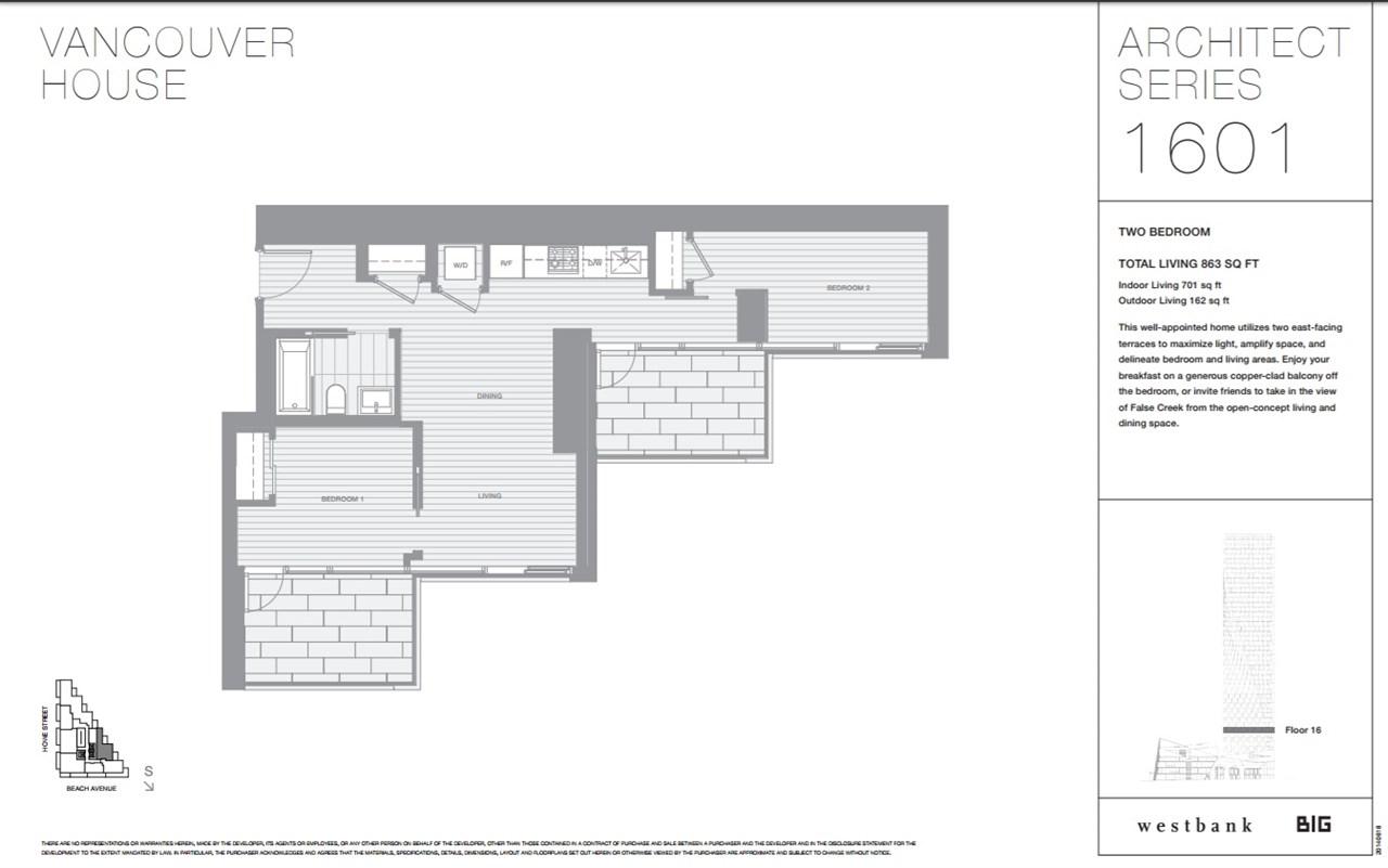 Condo Apartment at 1601 1480 HOWE STREET, Unit 1601, Vancouver West, British Columbia. Image 1