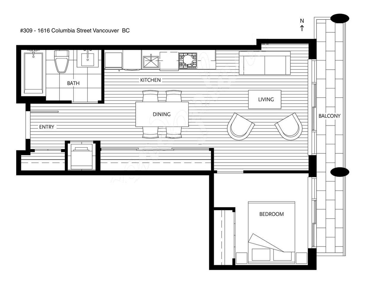 Condo Apartment at 309 1616 COLUMBIA STREET, Unit 309, Vancouver West, British Columbia. Image 3