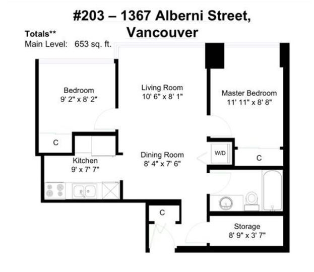 Condo Apartment at 203 1367 ALBERNI STREET, Unit 203, Vancouver West, British Columbia. Image 1