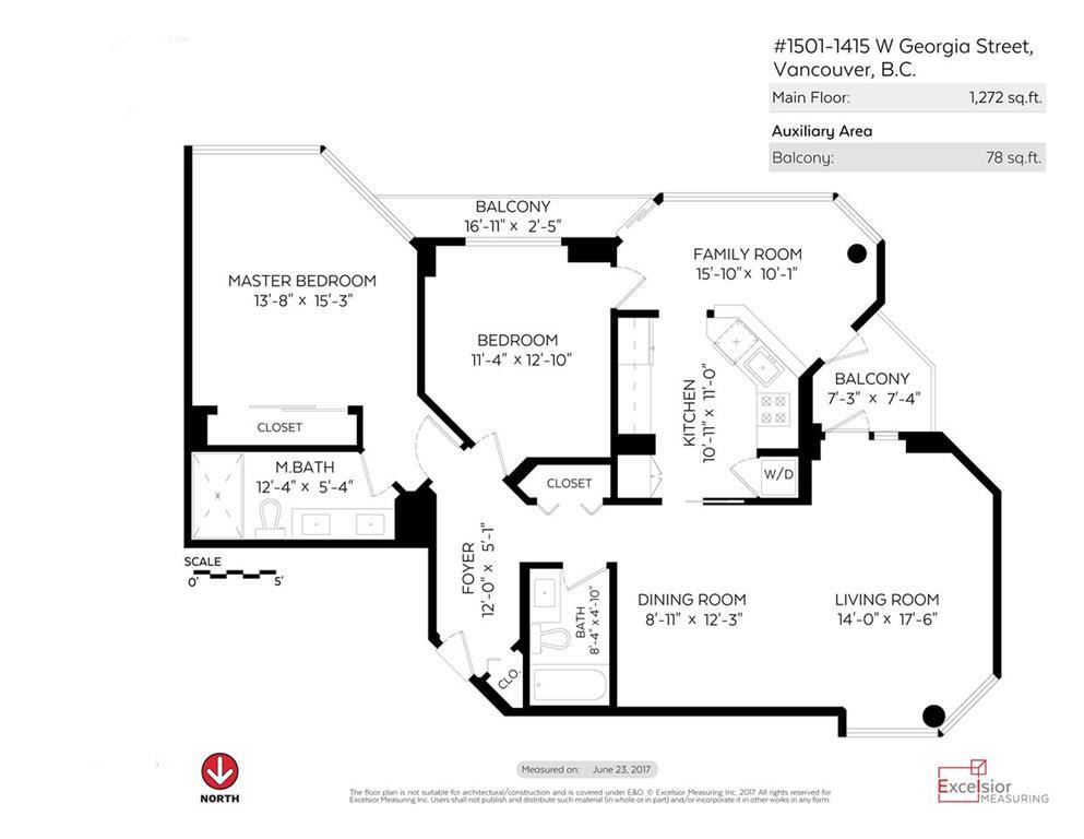 Condo Apartment at 1501 1415 W GEORGIA STREET, Unit 1501, Vancouver West, British Columbia. Image 19