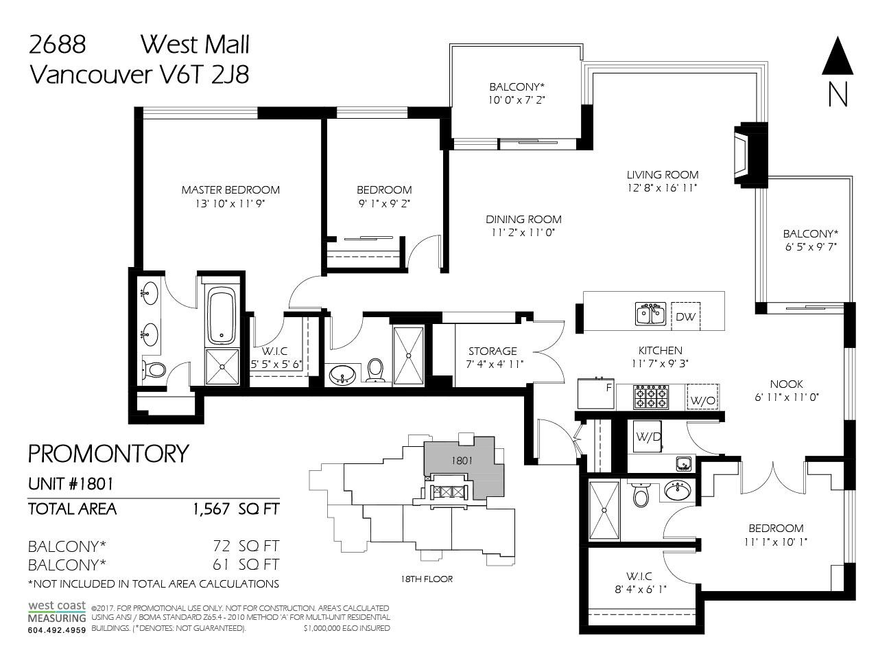 Condo Apartment at 1801 2688 WEST MALL, Unit 1801, Vancouver West, British Columbia. Image 16