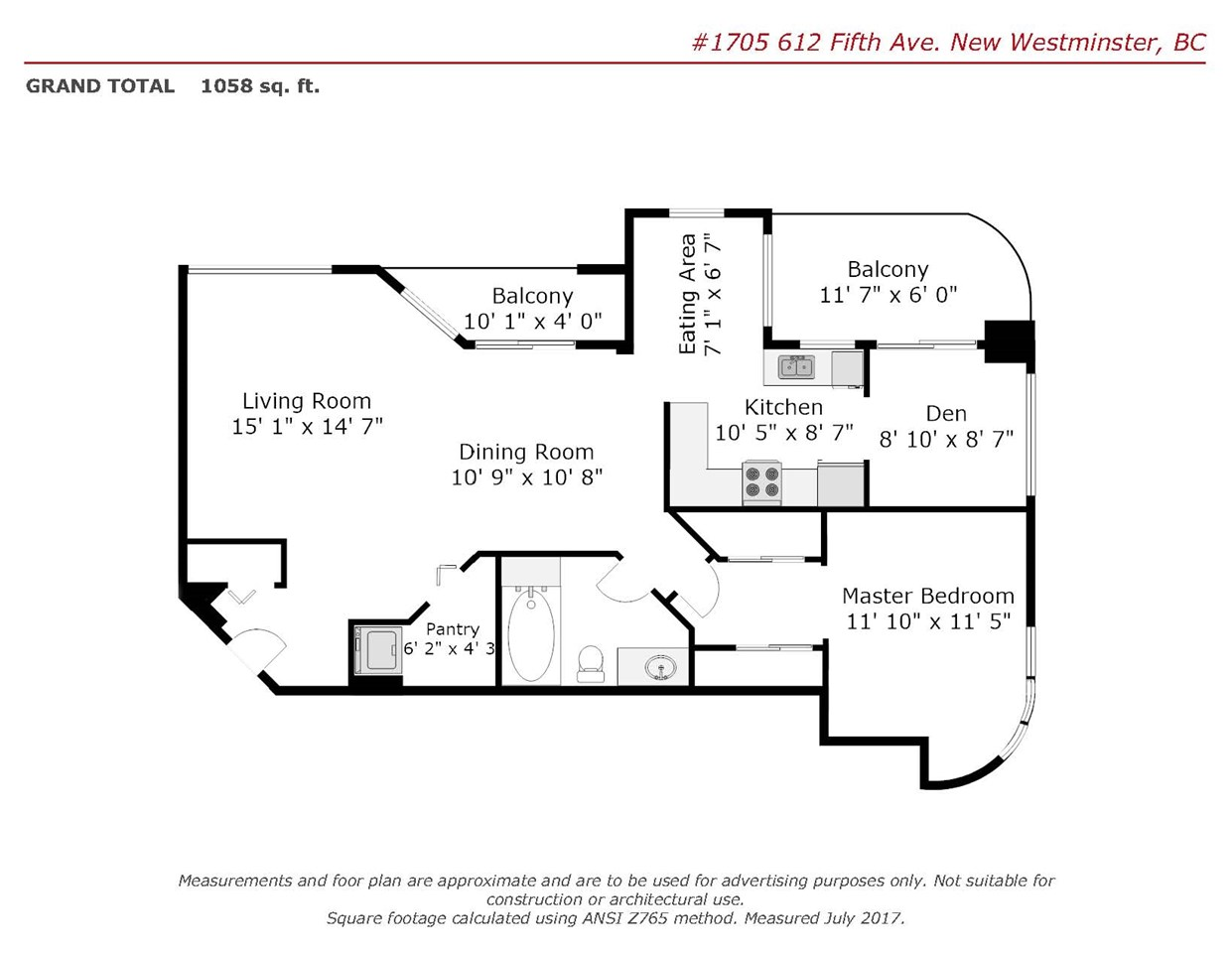 Condo Apartment at 1705 612 FIFTH AVENUE, Unit 1705, New Westminster, British Columbia. Image 2