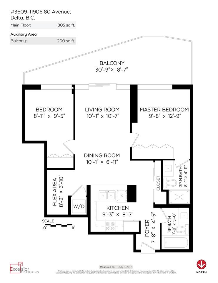 Condo Apartment at 3609 11967 80 AVENUE, Unit 3609, N. Delta, British Columbia. Image 20