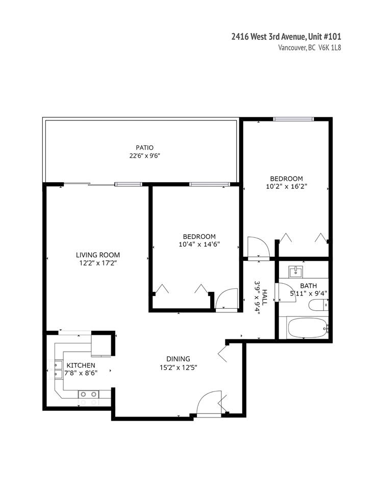 Condo Apartment at 101 2416 W 3RD AVENUE, Unit 101, Vancouver West, British Columbia. Image 15