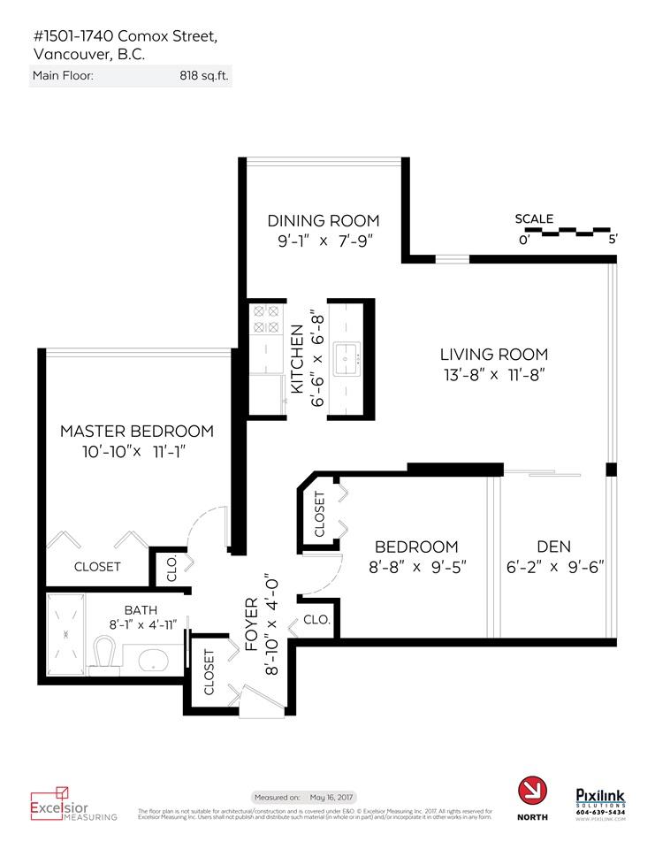Condo Apartment at 1501 1740 COMOX STREET, Unit 1501, Vancouver West, British Columbia. Image 18