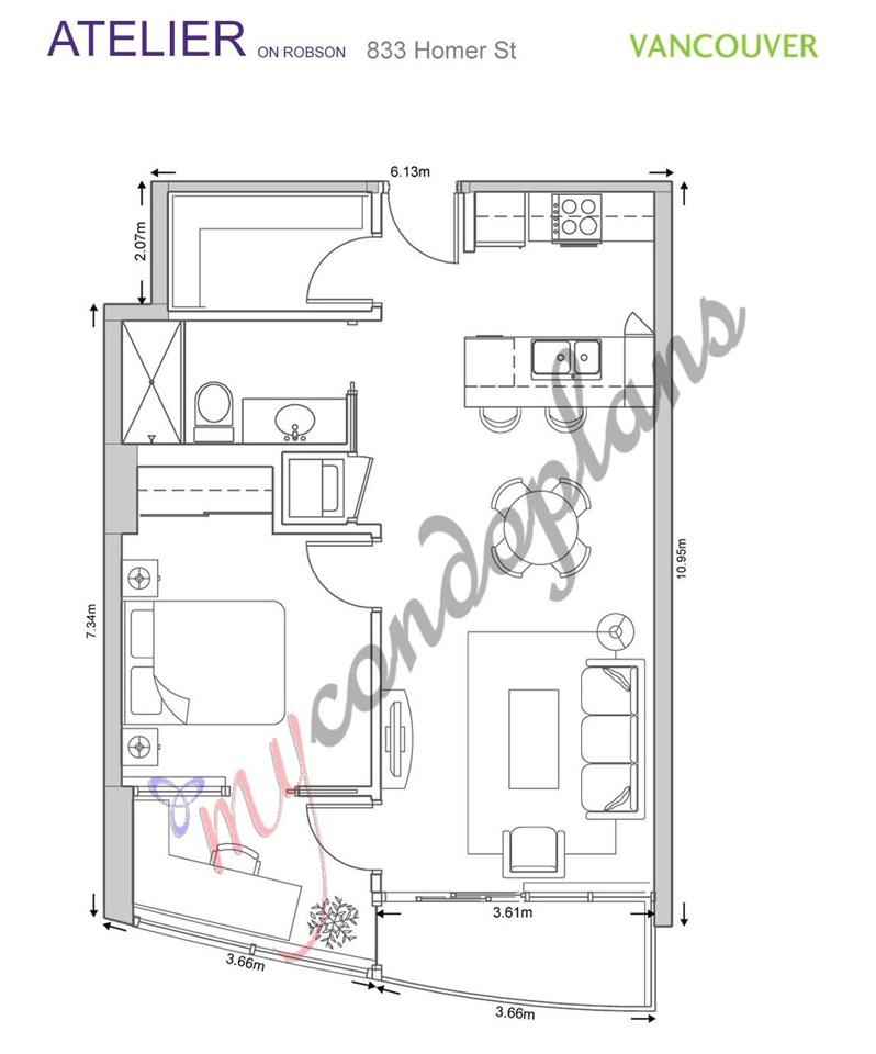 Condo Apartment at 611 833 HOMER STREET, Unit 611, Vancouver West, British Columbia. Image 12