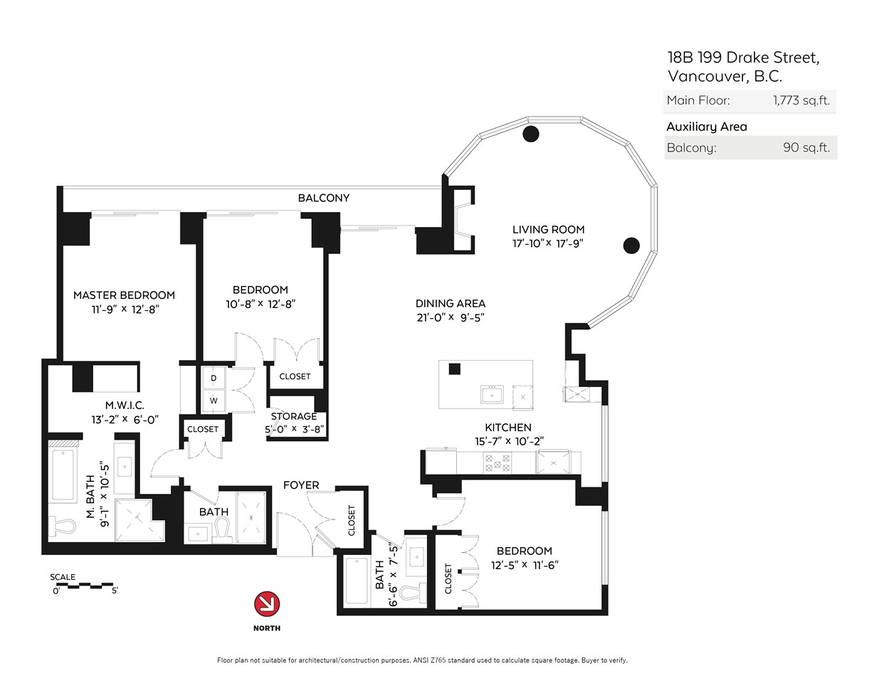 Condo Apartment at 18B 199 DRAKE STREET, Unit 18B, Vancouver West, British Columbia. Image 20