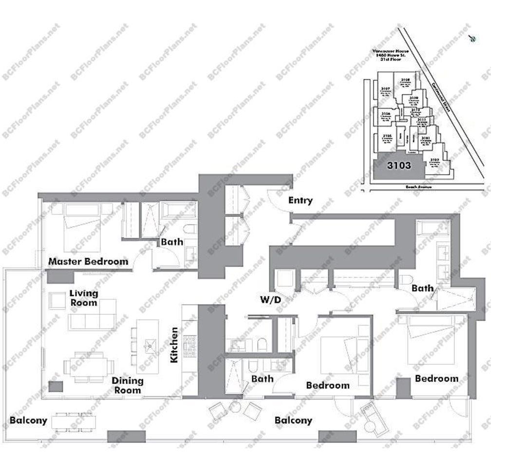 Condo Apartment at 3103 1480 HOWE STREET, Unit 3103, Vancouver West, British Columbia. Image 5