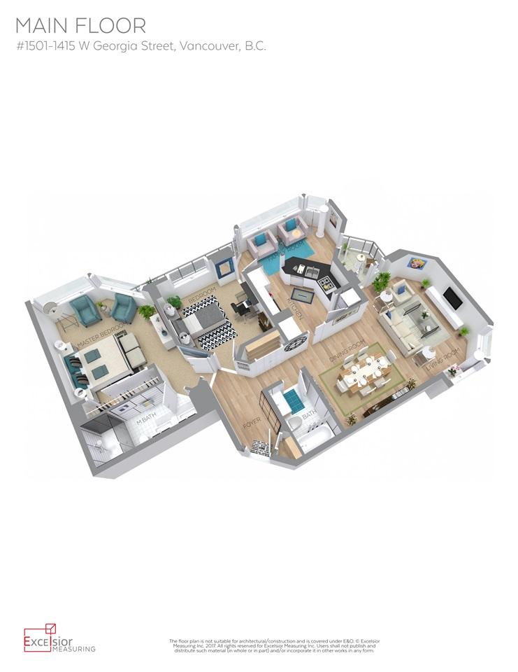 Condo Apartment at 1501 1415 W GEORGIA STREET, Unit 1501, Vancouver West, British Columbia. Image 20