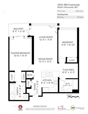 Condo Apartment at 604 188 E ESPLANADE, Unit 604, North Vancouver, British Columbia. Image 19