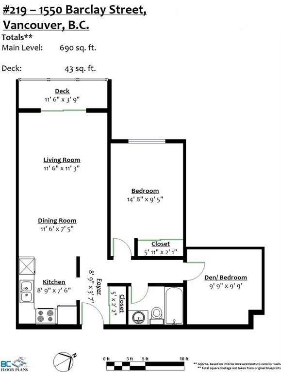 Condo Apartment at 219 1550 BARCLAY STREET, Unit 219, Vancouver West, British Columbia. Image 19
