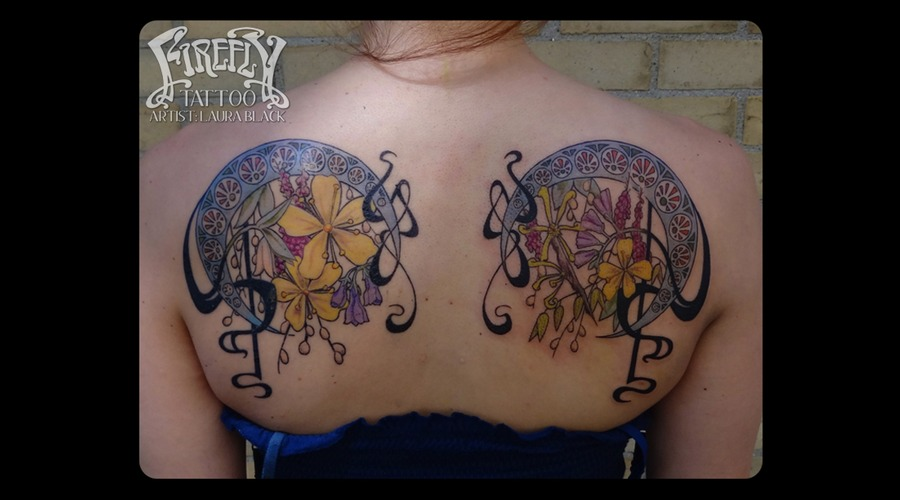 Art Nouveau  Floral  Flowers  Shoulderblade  Back  Custom Color