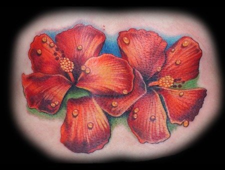 Floral  Hibiscus  Hawaiian  Lower Back  Color  Realism