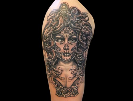 Medusa  Day Of The Dead Black White