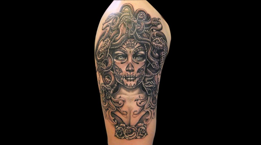 Medusa  Day Of The Dead Black White