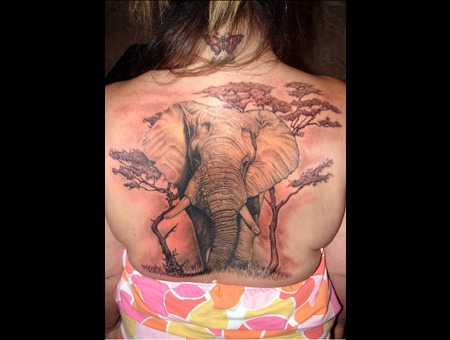 Elephant  Backpiece Black White