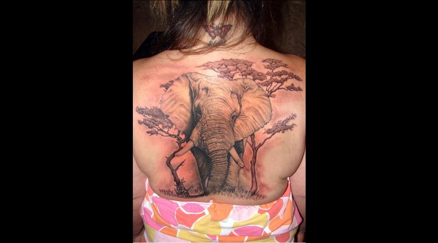 Elephant  Backpiece Black White