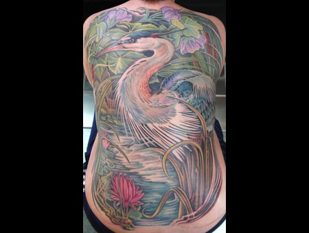 Heron Bird  Lotus  Flowers  Water  Back Piece Color