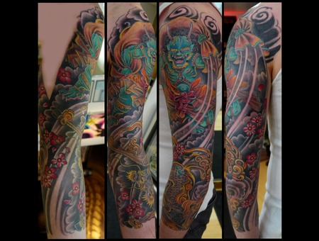 Sleeve  Kirin  Fujin  Wind God  Japanese  Flowers  Cherry Blossom Color