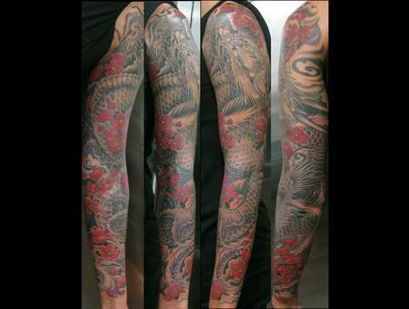 Sleeve  Dragon  Girl Tattoo  Flowers  Wind   Black Grey