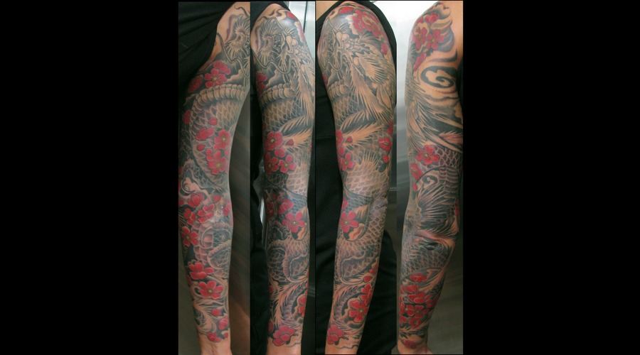 Sleeve  Dragon  Girl Tattoo  Flowers  Wind   Black Grey
