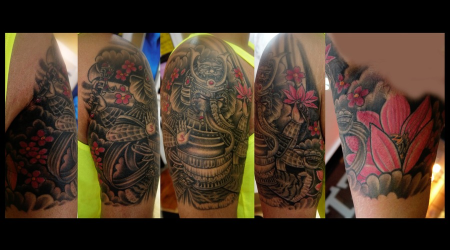Ganesh  Elephant  Samurai  Lotus  Flowers  Cherry Blossoms  Arm Tattoo Black Grey