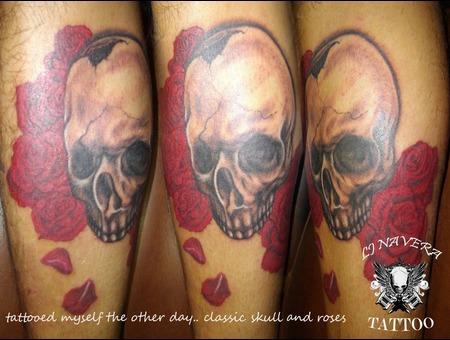Skull And Roses Color Lower Leg
