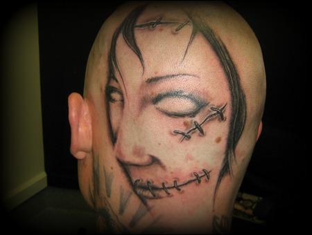 Face  Stitches  Head  Evil  Woman  Black White